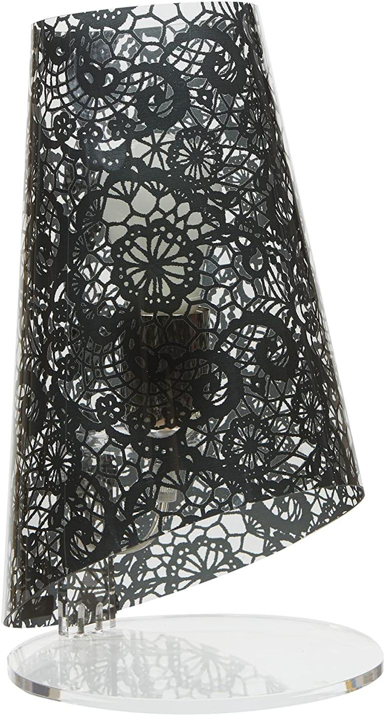 Lámpara con pantalla cónica de policarbonato transparente, decorada con textura Encaje en los colores: negro, blanco y rojo. Base de metacrilato blanco asta de metal pintado blanco Casquillo E14.