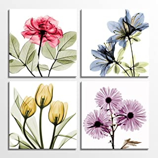 HLJ Tulip Rose Wall Art Painting in Golden Red Vivid Flower Home Wall Floral Canvas Print in 4 Panels (Colorful, 12x12inch...