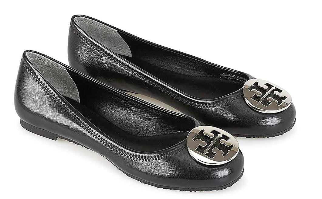 そこからバレエぶどう[Tory Burch] [トリー バーチ] レバ レディース バレエ フラット シューズ 靴 REVA Ladies Ballet Flats/Shoes in Black/Silver [並行輸入品]