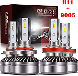 TURBOSII 9005/HB3 High Beam H11/H8/H9 Low Beam Led Headlight bulbs Combo Conversion Kits DOT Approved D6 Series CSP Chips,12000LM 6000K Cool White (4Pack,2 sets,Silver)