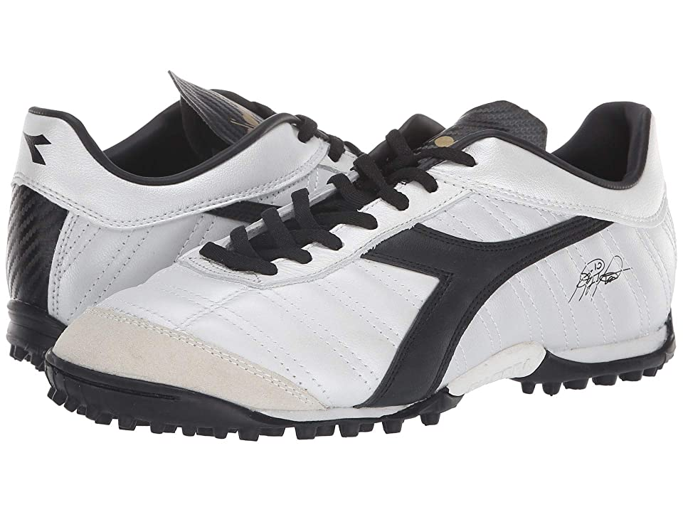 Diadora Baggio 03 LT TF (White Pearlized/Gold) Soccer Shoes