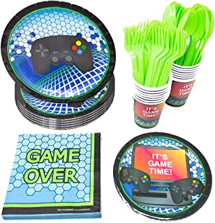 حزم لوازم حفلات ألعاب الفيديو (113+ قطعة لـ 16 ضيفًا!) , أدوات المائدة لحفلات الألعاب, لوازم حفلات ألعاب الفيديو