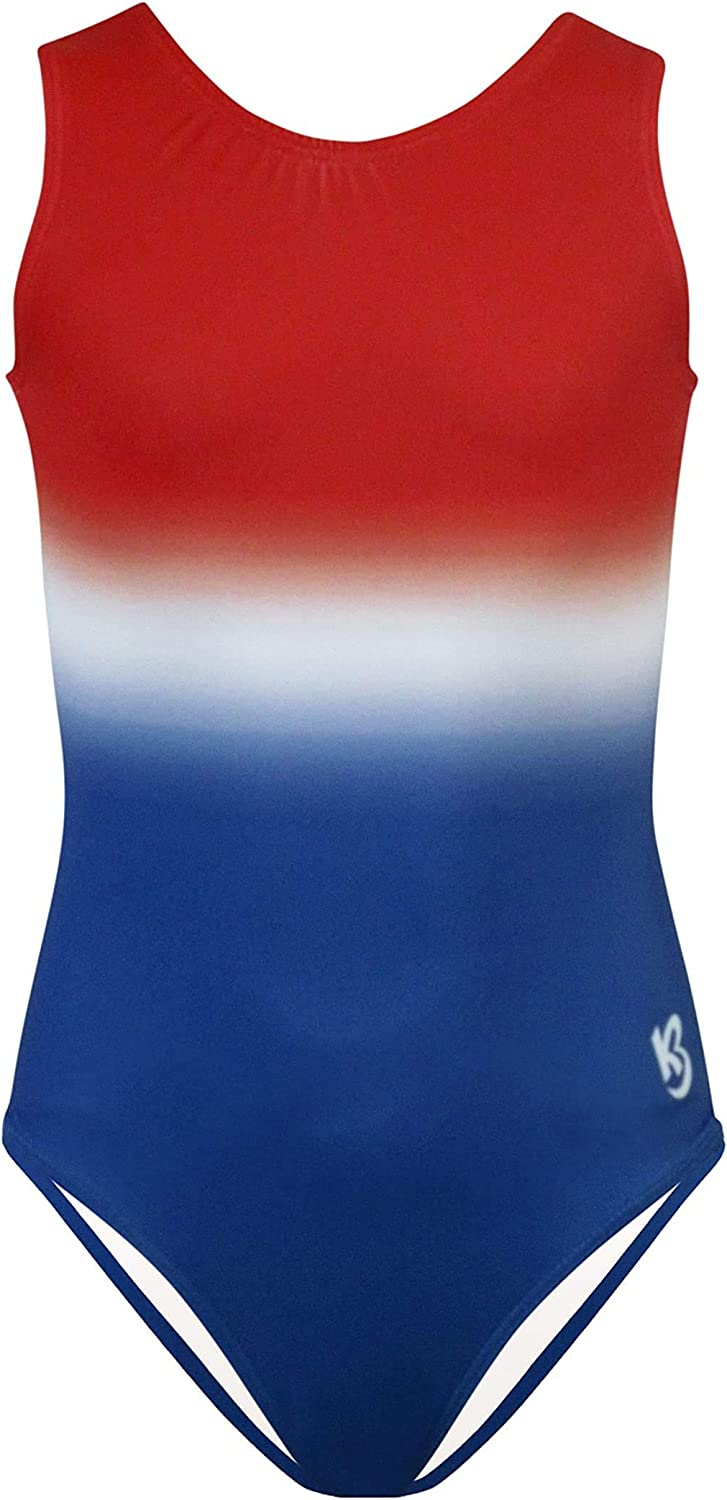 k-Bee Leotards Girl's Ombré Red Blue Gymnastics Raleigh Mall White Leo and Elegant