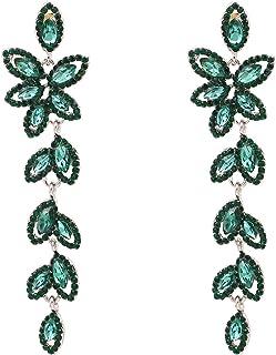 أزياء بيان أقراط كريستال للنساء بنات أخضر