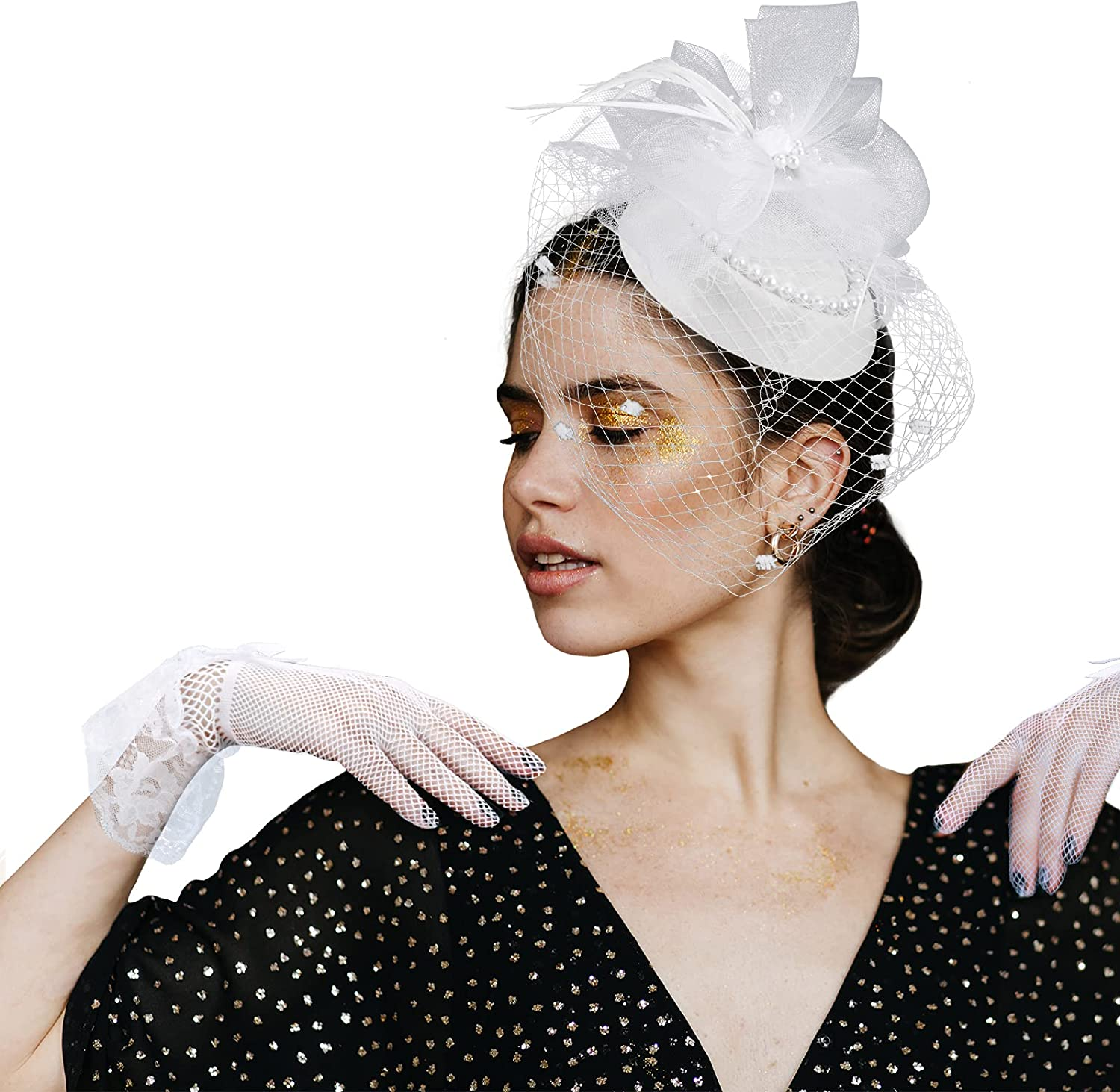Women's Fascinator Hat,Lace Gloves Veil Forked Clip Flower Pearl Cocktail Tea Party Headband Kentucky Derby Pillbox Hat