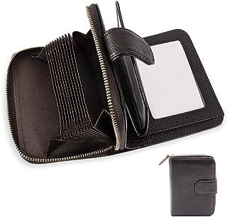 Tarjetero para Tarjetas de Crédito,RFID Titular de la Tarjeta de Crédito de Cuero con Cremallera para Muje y Hombre (café)