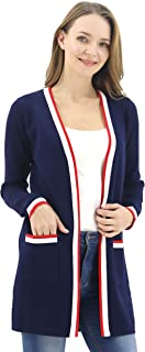 Women's Long Open Front Casual Maxi Long Sleeve Cardigan Sweater with Pocket
