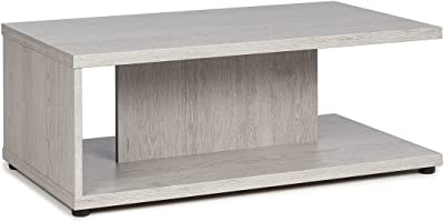 MEUBLE COSY Table Basse Salon Moderne avec Etagère en Panneau de Particules Meuble de Rangement Design, Chêne cendré, 89x51x35cm