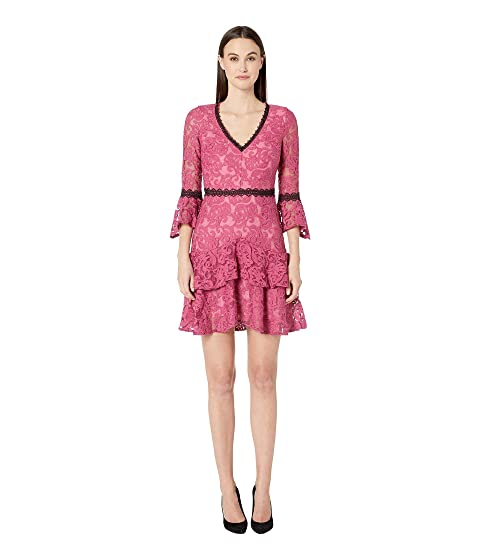 ML Monique Lhuillier Ruffled Dress w/ Lace Trim