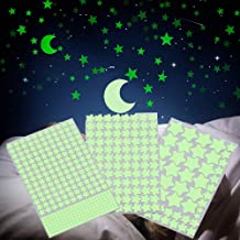 Finduat 453 Pcs Glow in The Dark Stars and Moon Wall Stickers, Glowing Stars and Moon for Ceiling and Wall Decals, Perfect for Kids Bedding Room or Party Birthday Gift(Green)