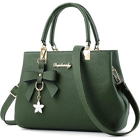 VARLIVOO Elegant Damen Handtasche Bogenknoten Ornament Schultertasche Frauen Umhängetasche Taschen Shopper Wasserdicht PU Crossbody Bag Damen Grün