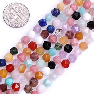 """GEM-Inside Multicolor Gemstone Loose Beads Natural 6mm Faceted Semi Precious Cambay Stone Power for Jewelry Making 15"""""""