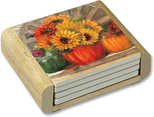 CounterArt Sunflowers And Pumpkins Absorbent Coasters In Wooden Holder Set Of 4