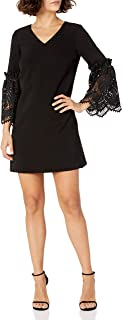 Tahari by Arthur S. Levine Women's Petite Size V Neck Shift Dress with Lace Bell Sleeve Details