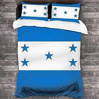 Snbin Juego de Funda nórdica Bandera de Honduras Juego de Cama de 3 Piezas con Cierre de Cremallera 2 Fundas de Almohada para la Cama o la habitación de Invitados