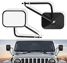 KASLIGHT Side Mirrors Square Doorless Rear View Quick Release Mirrors for Jeep Wrangler CJ YJ TJ JK JL & Unlimited, Textured Black