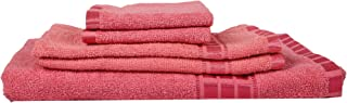 Eurospa Set of 5 Cotton Bath + Hand + Face Towel Set Pink (SPDHFCB154PNM5)