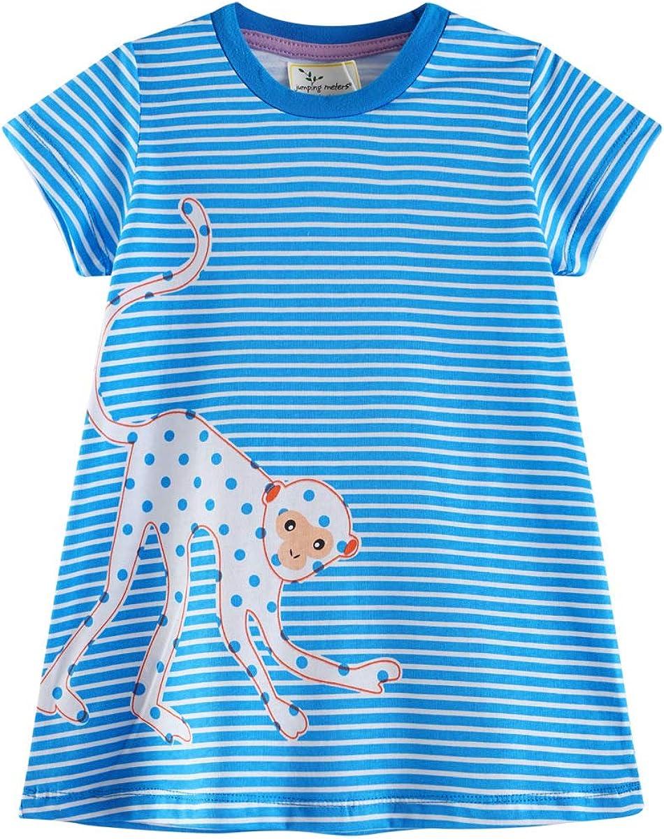Toddler Girl Casual Dress Stripe Dots Short Sleeve Cartoon Cute Animals Pattern T-Shirt Dresses Kids Summer Cotton Outfit