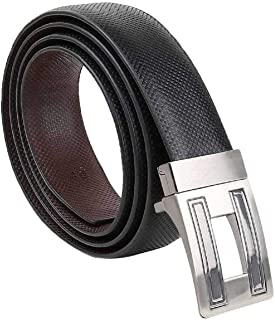 COOVS Men's Reversible PU Leather Belt with Auto Turning Buckle (Black and Brown, Free Size)
