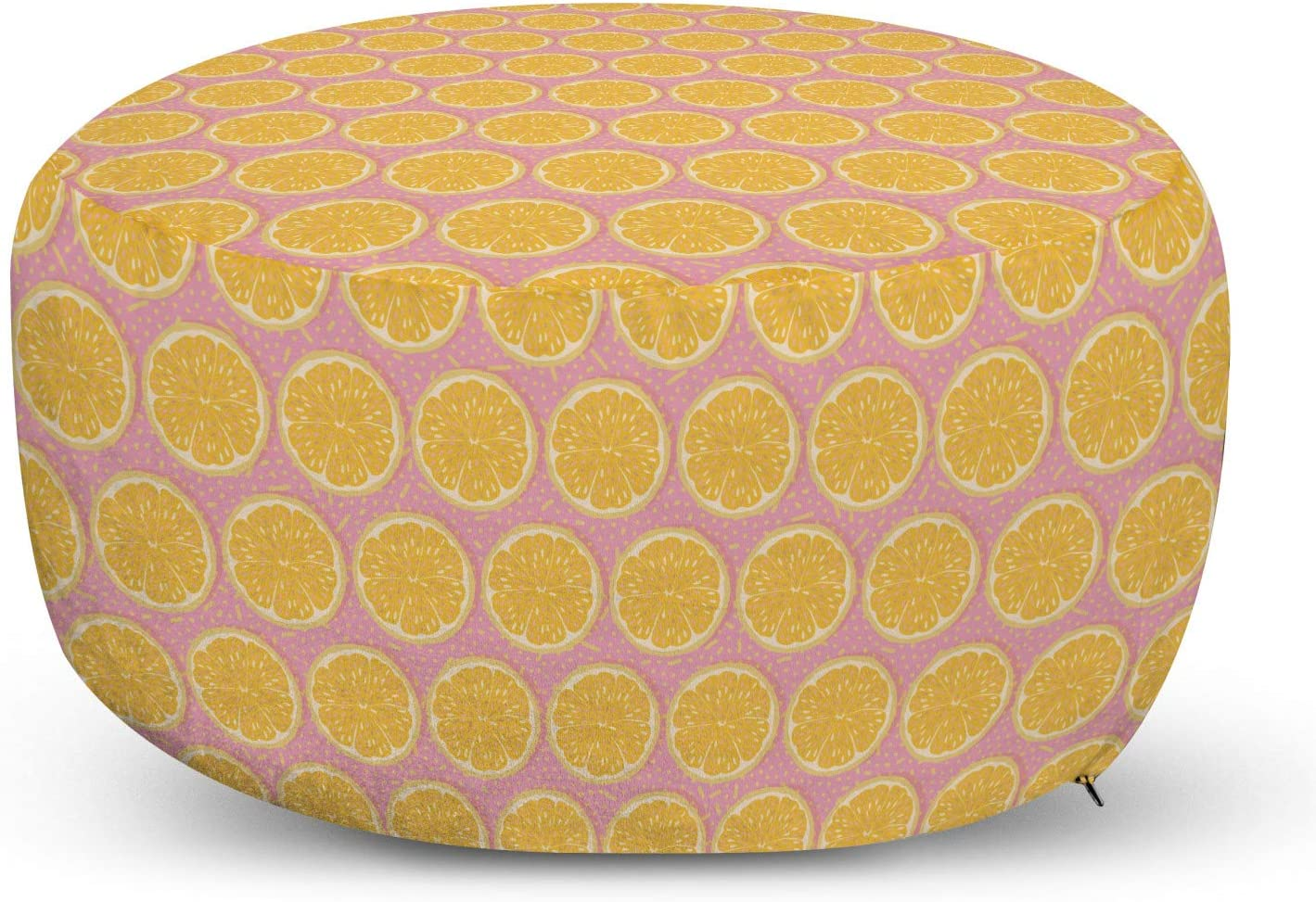 Lunarable Fruit Pouf Cover ! Super beauty product restock quality top! with Repeated Slices Max 50% OFF Orange Zipper a