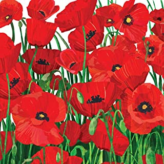Paperproducts Design Lunch Napkin with Exquisite Red Poppies Design, 6.5 x 6.5