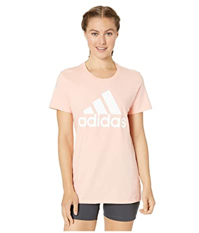 adidas Basic Badge of Sport Short Sleeve Tee (Glow Pink) Women
