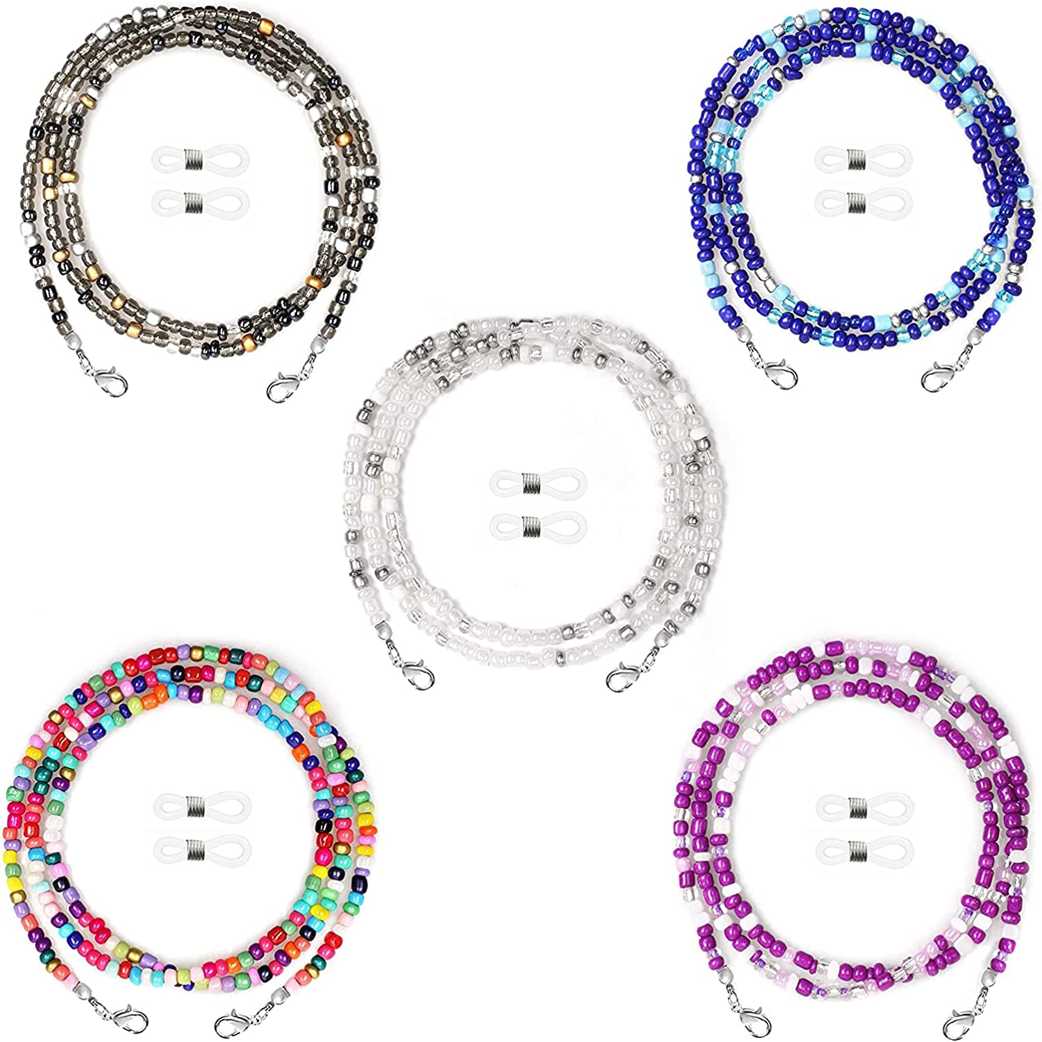 Rpanle Eyeglasses Chain, 4 Pieces Multi-Colour Beaded Eyeglasses Chain, for Sunglasses, Spectacles and Other Types of Eyewear