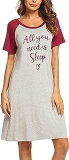 Ekouaer Womens Nightgowns Short Sleeve Nightshirts Printed Sleepwear Cute Sleep Shirts S-XXL