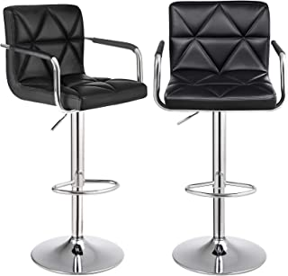 SONGMICS Bar Stool Set of 2, Height Adjustable Bar Chairs with PU Surface, 360° Swivel Kitchen Stool with Armrest, Backrest and Footrest, Chrome-Plated Steel, Black ULJB93BV0