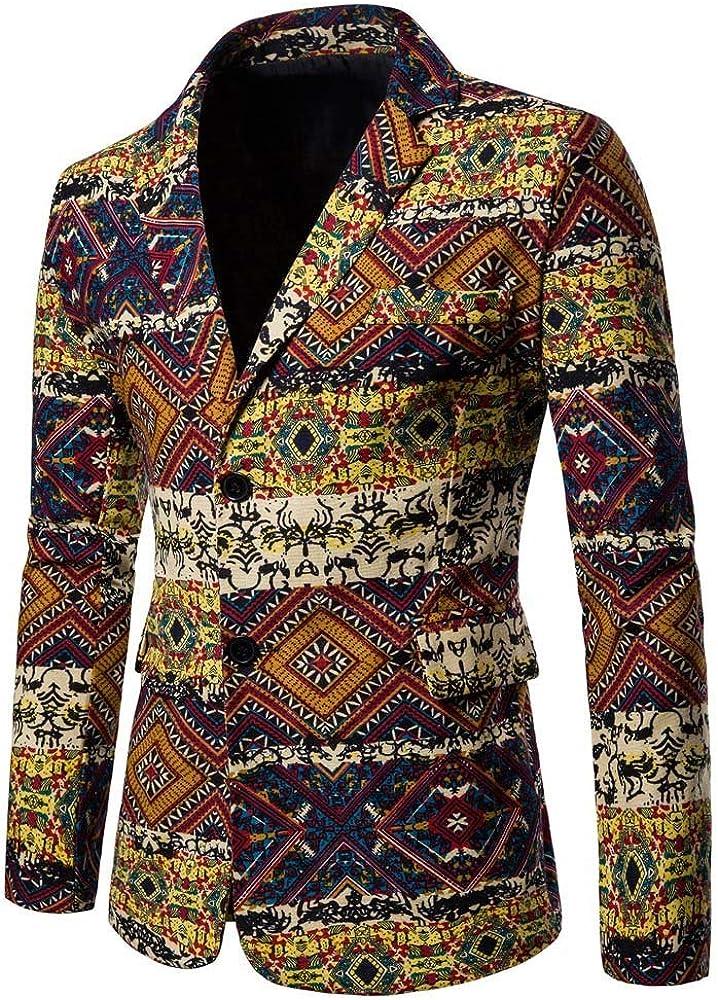MODOQO Men's Casual Long Sleeve Slim Fit Dashiki Cardigan Suit Blazer for Party Prom