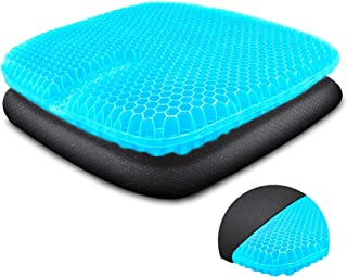 Cojín de gel para asiento Cool&transpirable, ortopédico, con funda de plástico antideslizante y almohadilla de gel de panal, transpirable, para oficina, coche o silla de ruedas