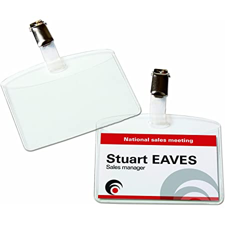 AVERY - Boite de 25 porte-badges à clip en plastique souple transparent, 32 inserts imprimables fournis, Format 90 x 60 mm, Impression laser / jet d'encre, (4822)