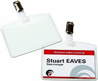 AVERY - Boite de 25 porte-badges à clip en plastique souple transparent, 32 inserts imprimables fournis, Format 90 x 60 m...