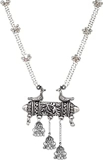 Total Fashion German Oxidized Silver Base Metal Jewellery Stylish Antique Afghani Long Pendent Chain Necklace for Women