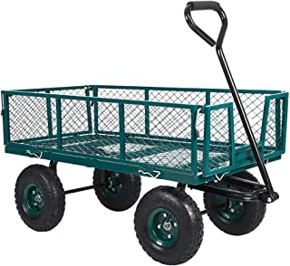 Livebest Utility Wagon Farm and Heavy Duty Cart with Removable Folding Sides, 550 Lb Load Capacity,Perfect for Garden