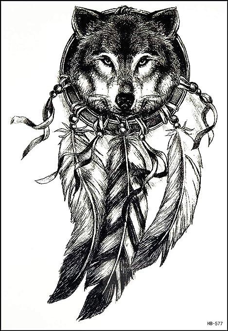 Amazon Com Gs912 Tattoo 8 2 X5 7 Lone Wolf Fox Head Feathered Indian Chief Large Temporary Tattoos Paper Designs Body Art For Men Women Fake Tattoo Sticker Cartoon Vintage Style Art 3d Waterproof 11 Arts