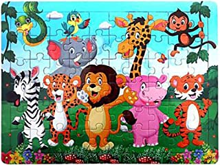 Binory Wooden Cartoon Anime Story Jigsaw Puzzles for Kids 60 Pieces, Fun Challenge IQ Developmental and Intelligence Educational Toys Brain Game Birthday Gift for Children Boys Girls-Zoo