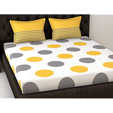 Loreto 144 TC 100% Cotton Double Bedsheet with 2 Pillow Covers - Polka, Yellow & Grey