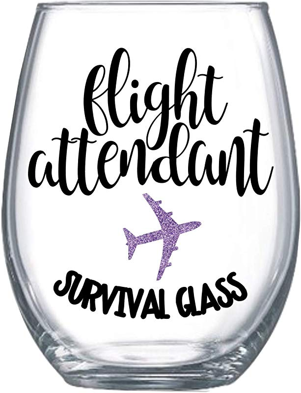 Funny Flight Attendant Gifts For Women Graduation Idea Stemless Wine Glass 20oz 0078
