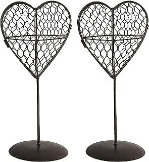 2Pcs Iron Wire Heart Shape Stand Succulent Pot Standing Planter Plant Holder