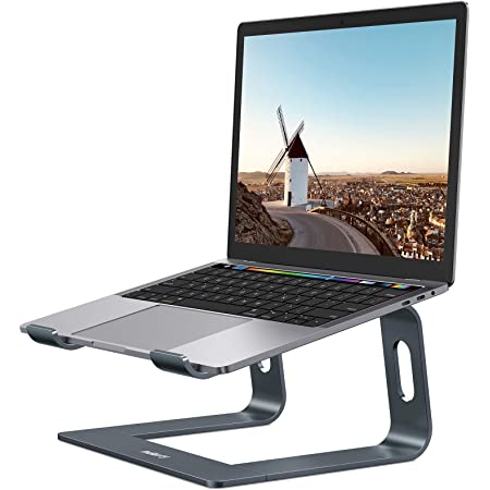 """Nulaxy Laptop Stand, Ergonomic Aluminum Laptop Mount Computer Stand, Detachable Laptop Riser Notebook Holder Stand Compatible with MacBook Air Pro, Dell XPS, Lenovo More 10-15.6"""" Laptops - Space Gray"""
