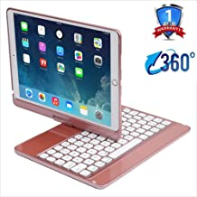 iPad 7th Gen Keyboard Case,IQIYEVOLEW iPad 10.2 2019 Keyboard Case with 360 Degree Rotation 7 Colors Backlight Protective Flip Smart Cover Case with Bluetooth Keyboard, (Rose Gold)