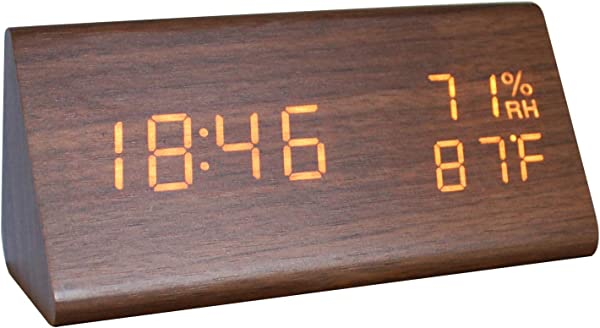GO HAND Digital Alarm Clock LED Wooden Triangle Electronic Temperature And Humidity Table Home Bedroom Travel Clock With Adjustable Brightness Voice Control Brown Wood White Light