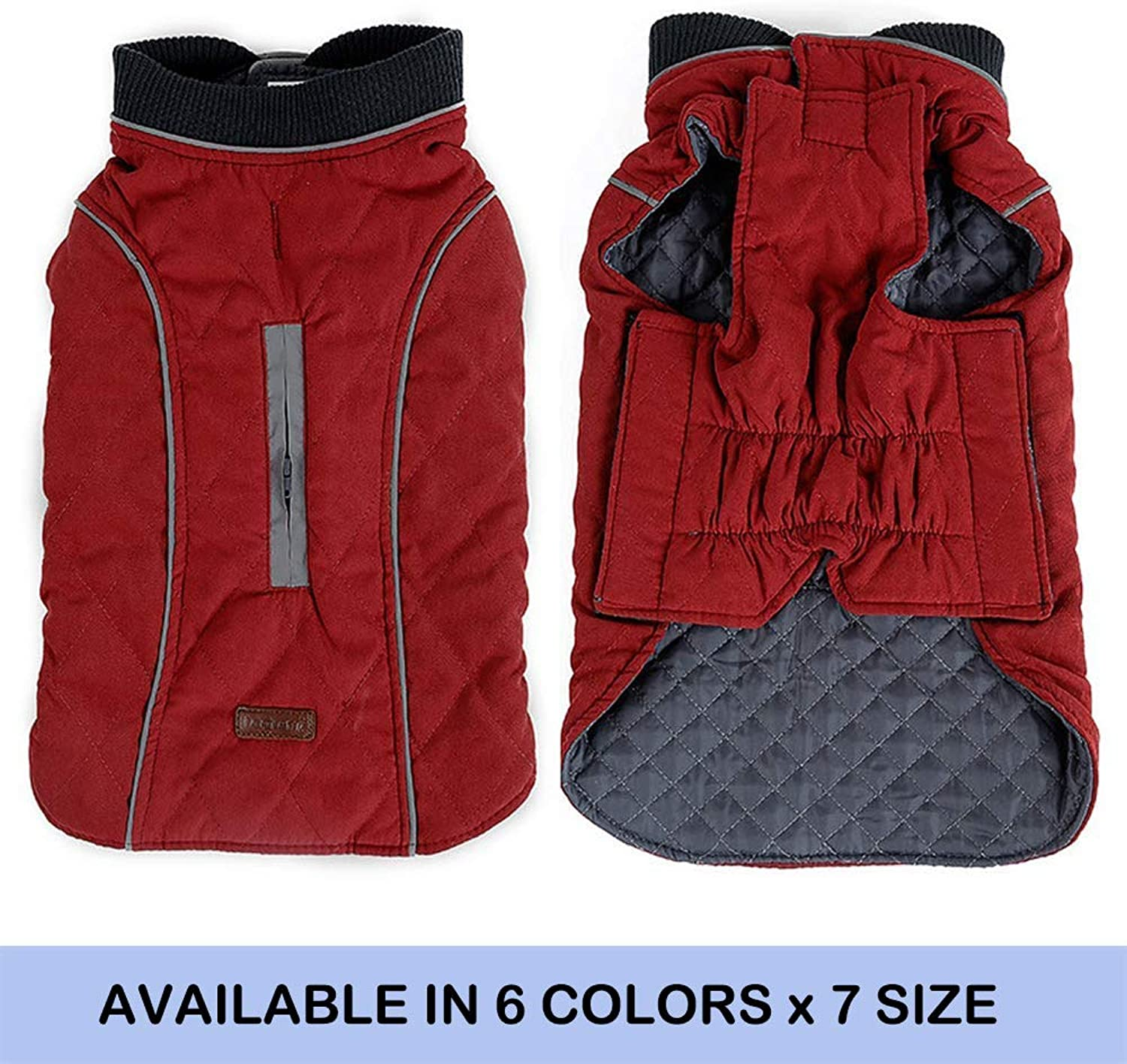 FORYY Reflective Dog Coats with Leash Harness Appendice Hole Winter Vest Jackets for Small Medium Large Dogs Windif Snow tuta da neve Pet Apparel Clothes Sweaters (Red,L)