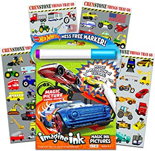 Hot Wheels Imagine Ink Coloring Book Set for Kids Toddlers -- Mess Free Magic Ink Coloring Book with 160 Crenstone Stickers (No Mess Coloring Bundle)