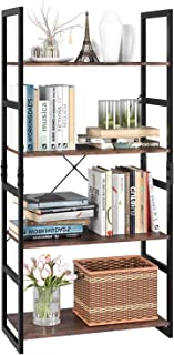 Homfa Bookshelf Rack 4 Tier Vintage Bookcase Shelf Storage Organizer Modern Wood Look Accent Metal Frame Furniture Home Of...