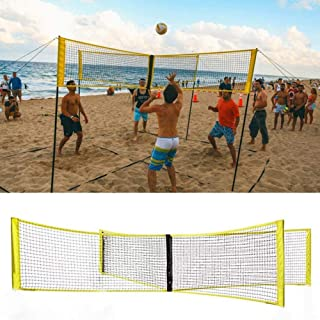 GINKO 4-Sided Volleyball Net, Indoor Outdoor Sand Grass Sports Supplies Professional Durable Four-Person Volleyball Training Portable Tennis Square Net 100X30CM (NO Shelf)