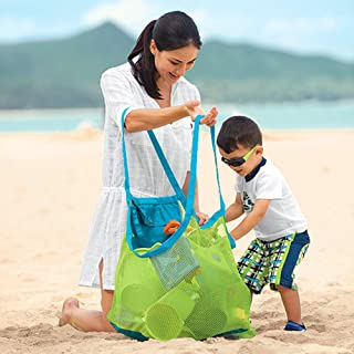 Xplanet Large Mesh Beach Bag, Beach Necessaries Family Beach Toys Shell Bag Toy Storage Bag Stay Away from Sand & Water, P...