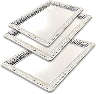Maro Megastore (Pack of 3) Three Sizes - Large:17.9 x 13-Inch Medium: 13.8 x 10-Inch Small: 11 x 8.1-Inch Rectangular Chrome Plated Serving Tray Edge Bullet Engraved Decorative Holiday 280 Ts-097