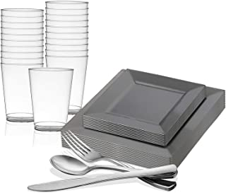 Kaya Collection Standard Square Disposable Plastic Dinnerware Party Package - For Party's and Weddings Silver 120 person package